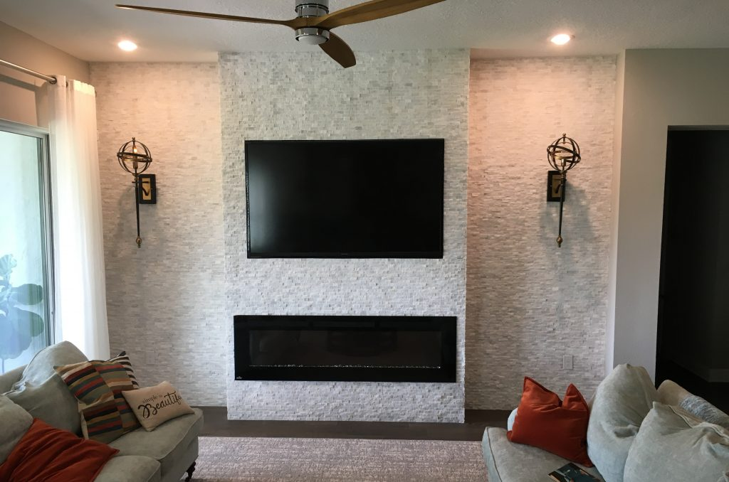 Stone Fireplace Accent Wall | Mount Dora Carpenter